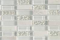 Мраморная мозаика со стеклом белая Vivacer HL85