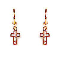 [24/5мм] Серьги-конго Gold крестик