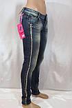 Жіночі джинси з декором із золотих каменів, фото 4