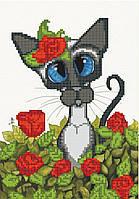 Схема вышивки бисером Кошка Сима в маках