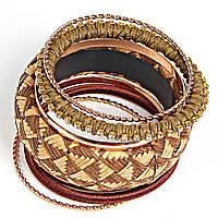 [6см] Браслет женский, объемный, из шести колец и обруча с узором из камней желтого и коричневого цветов