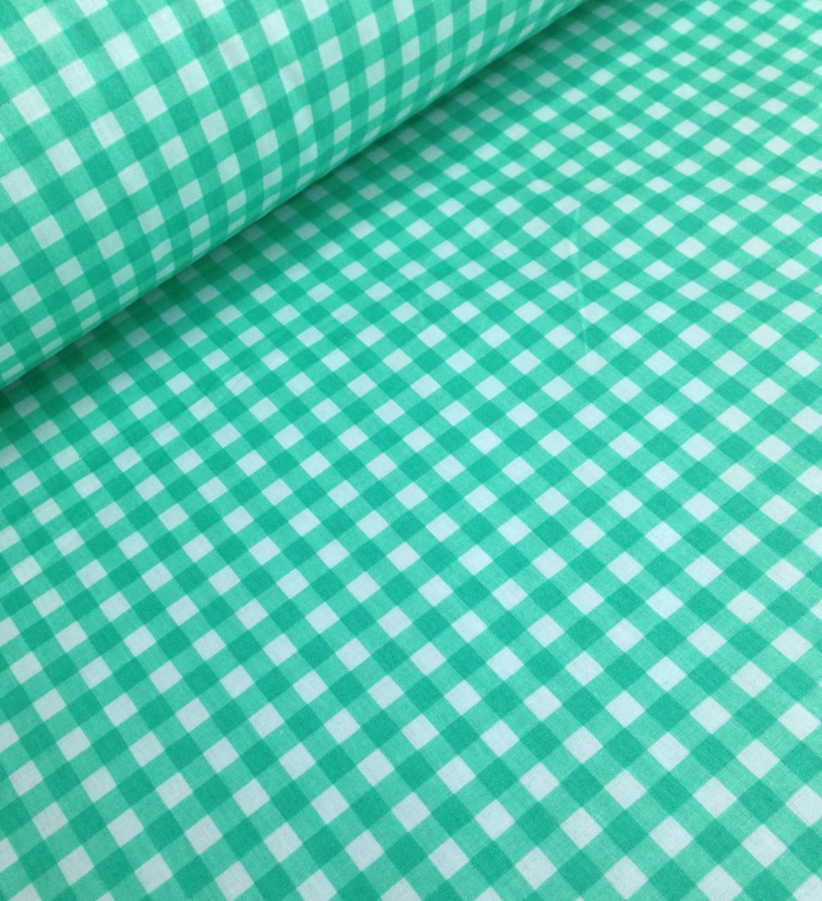 Хлопковая ткань польская клетка зеленая