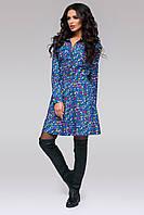 """Приталенное расклешенное платье джинс """"Эшли""""  с длинным рукавом и рубашечным воротником (2 цвета)"""