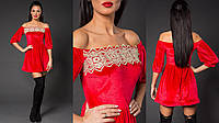 """Нарядное бархатное платье-мини """"Скарлетт"""" с открытыми плечами и отделкой из кружева (3 цвета)"""