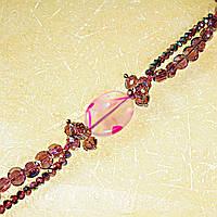 """Бусы """"чешское стекло"""" бусины сиреневого цвета и розовый агат овальной формы, длина 90см"""