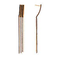 """Серьги-пусеты с подвесками из """"золотых"""" и черных цепочек,металл, 100*10мм"""