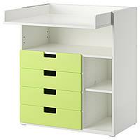 STUVA Пеленальный стол/4 ящика, белый, зеленый