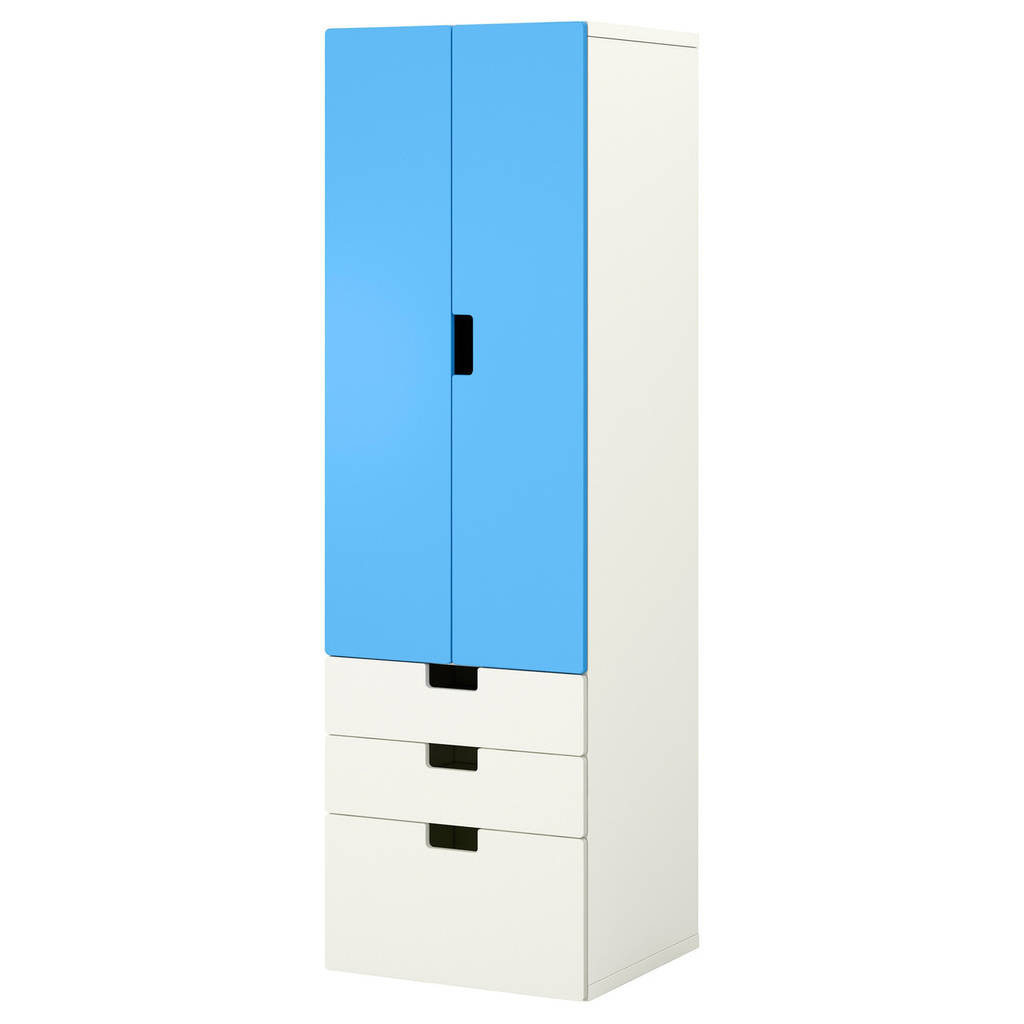 STUVA Комбинация regałowa с двери/ящики с организац, белый, синий