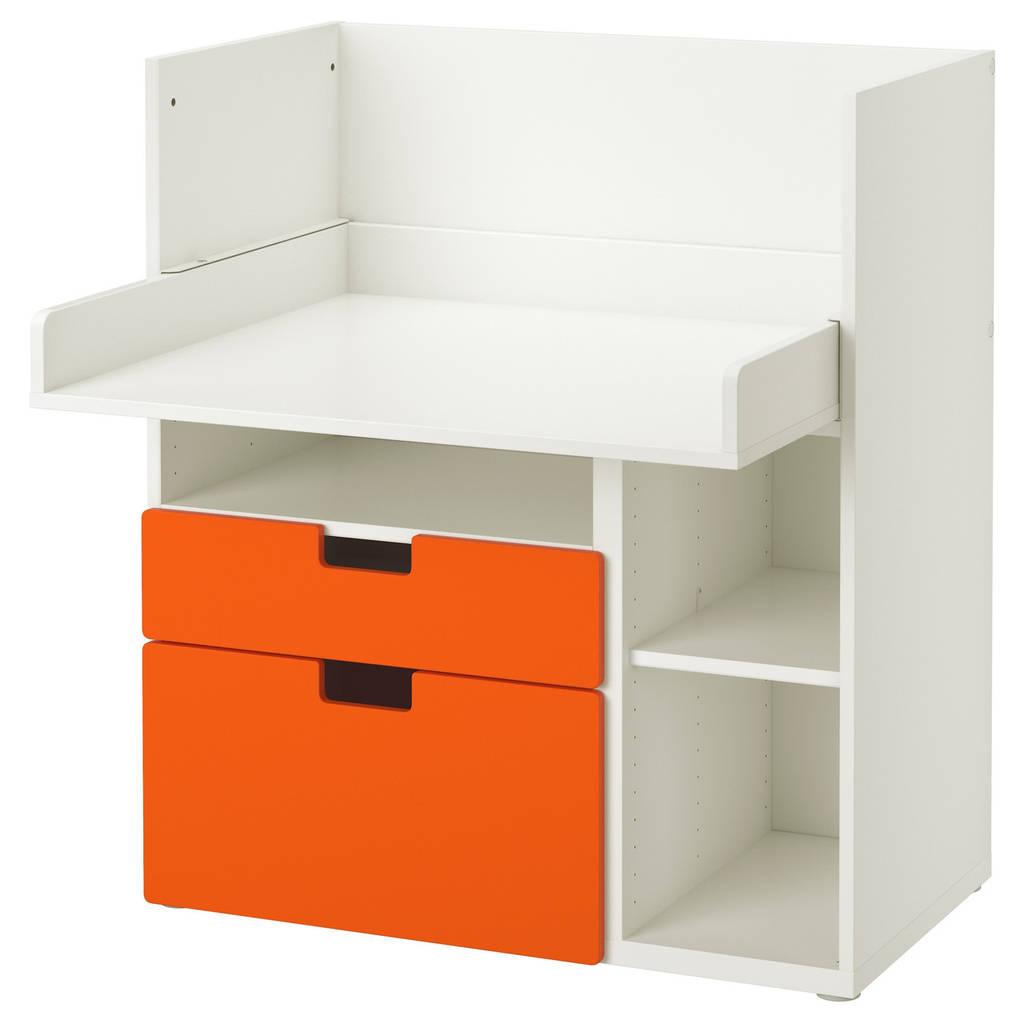 STUVA Столик д/игр с 2 ящиками, белый, оранжевый