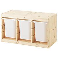 TROFAST Стеллаж с контейнерами, сосна, белый