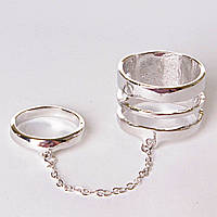 [15,16,17,18,19] Кольцо на два пальчика спираль кольцо сильвер