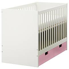 STUVA Кроватка детская с ящиками, розовый