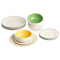 Набор тарелок и мисок IKEA DUKTIG 12 шт игрушечный 701.301.64