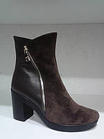 Ботинки зимние женские коричневые на меху,кожа.р.37,41..