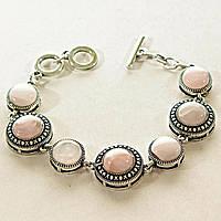 [13 мм] Браслет с натуральным камнем Розовый кварц серый металл оправа крестик точка круглые камни, канатик круглые камни