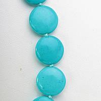 Бусы голубая Бирюза бусины монетка 18мм, длина 46см