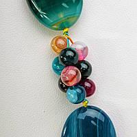 Бусы Агат разноцветный овальные бусины 15*25мм со вставками из мелких бусин, длина 55см
