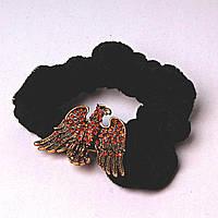 Резинка для волос резинка черный бархат жар птица страза бронза