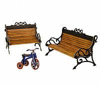"""Коллекционный набор мебели """"Скамейки"""". Объемный пазл. Материал: картон."""