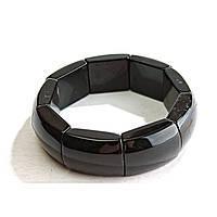 [10 см] Браслет на резинке черный Агат прямоугольные камни