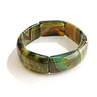 [10 см] Браслет на резинке зелено-желтый Агат прямоугольные камни