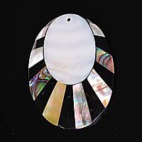[50/40 мм.] Кулон подвеска Овал Солнце Лучи Перламутр Халиотис