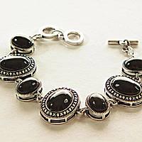 [15, 20 мм] Браслет с натуральным камнем черный Агат серый металл оправа крестик точка овальные камни