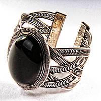 [6,5 см] Браслет черный Агат широкий скобка  металл оправа греческий узор мелкий овальная