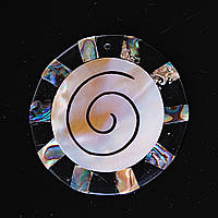 [50/50 мм.] Кулон подвеска Круг Солнце Лучи спираль Перламутр Халиотис