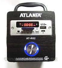 Акустика Atlanfa AT-R62, MP3/SD/USB/FM, brown, фото 2