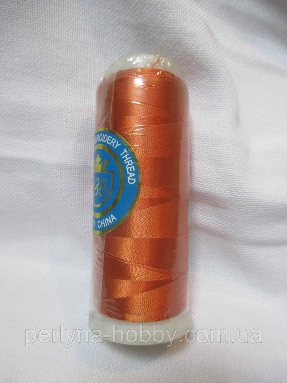Нитки для машинної вишики 100% віскоза (100% rayon) 3000 ярдів, №114, оранжевий