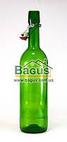 Бутылка стеклянная 750мл с бугельной пробкой ЗЕЛЕНАЯ (10026)