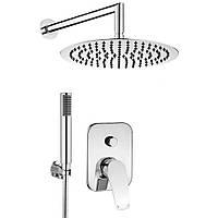 Набор: верхняя лейка,смеситель встраиваемый в стену для ванны и душа и ручная лейка Deante NAC 09BP Cynia