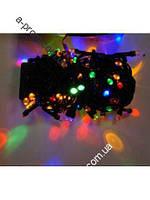 Гирлянда светодиодная линза 400ламп (LED) чёрный провод, цвета в ассортименте