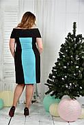 Женское вечернее платье 0375 цвет черно-голубой размер 42-74 / батальное, фото 4