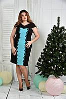 Женское вечернее платье 0375 цвет черно-голубой размер 42-74 / батальное