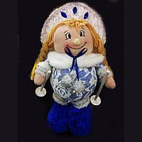 Мягкая игрушка снегурочка  с лыжными палками 28 см