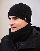 Шапка мужская Софт. Зима,на флисе. разм. 57-58 см. Черный, средне-серый