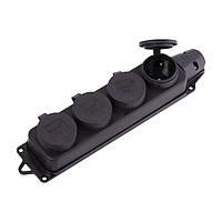 Розетка наружной установки четырехместная с заглушками каучук 2P+PE 1x16A 220-240V (арт. 106-0400-0107)