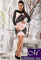 Красивое мини-платье с гипюром (р.S, M, L) арт. 10812