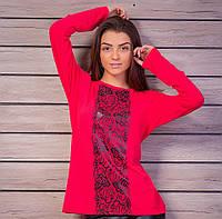 Женский бордовый свитшот с принтом в виде гипюровой ленты
