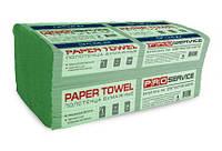 PRO service эконом полотенца бумажные в листах V-сложение, зеленый макулатурный