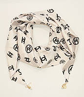Стильный платок, косынка Chanel белая, атлас