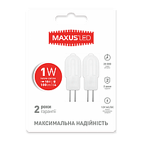LED лампа MAXUS (2 шт. в упаковке) G4 1W 3000K 12VAC/DC (2-LED-205)