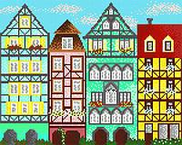 Рисунок на атласе для вышивания бисером Европейские домики 1 AK3-189
