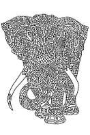 Рисунок на атласе для вышивания бисером Слон (на белом ) AX2-042