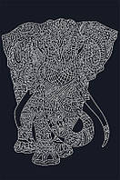 Рисунок на атласе для вышивания бисером Слон (на черном ) AX2-043