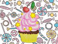 Рисунок на атласе для вышивания бисером Пирожное AK5-014