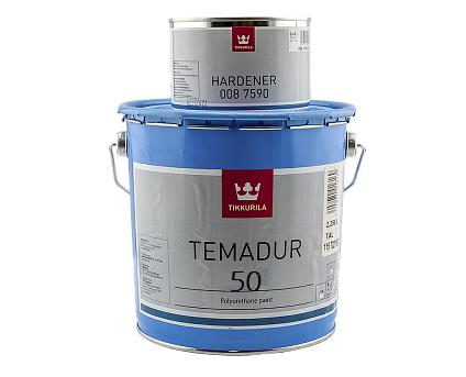 Эмаль полиуретановая TIKKURILA TEMADUR 50 износостойкая, TAL-белый, 2,25+0,45л