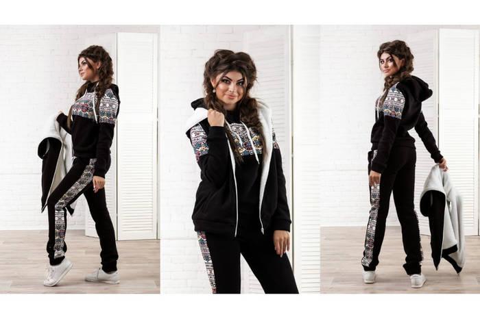 Теплый зимний спортивный костюм тройка  жилетка, толстовка и штаны ... 83f86e42d27